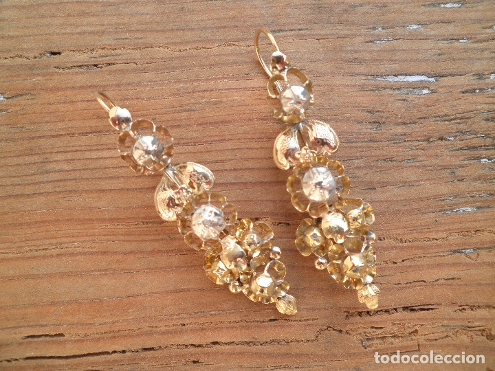 Joyeria: Pendientes isabelinos oro XIX antiguos - Foto 6 - 176580240