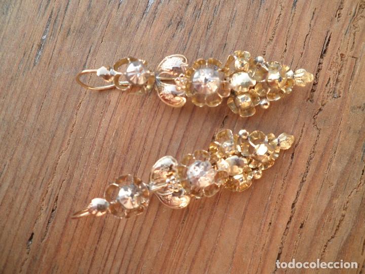 Joyeria: Pendientes isabelinos oro XIX antiguos - Foto 8 - 176580240