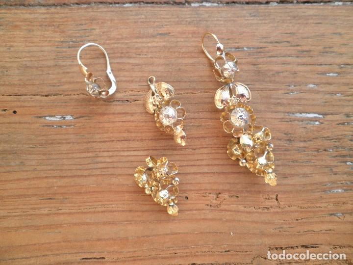 Joyeria: Pendientes isabelinos oro XIX antiguos - Foto 11 - 176580240