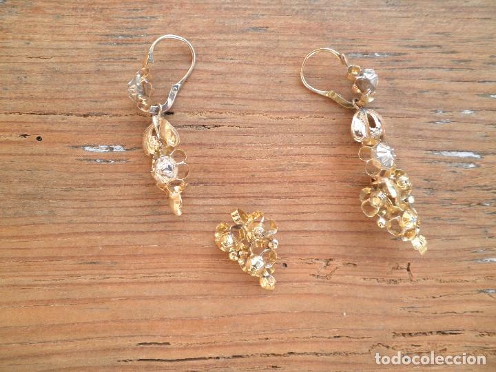 Joyeria: Pendientes isabelinos oro XIX antiguos - Foto 12 - 176580240