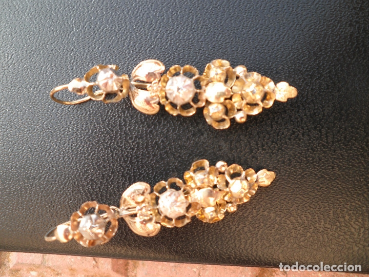 Joyeria: Pendientes isabelinos oro XIX antiguos - Foto 13 - 176580240