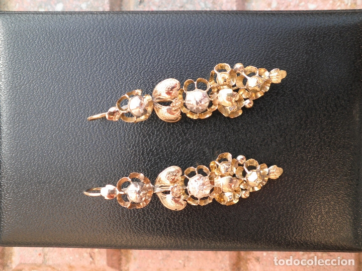Joyeria: Pendientes isabelinos oro XIX antiguos - Foto 16 - 176580240
