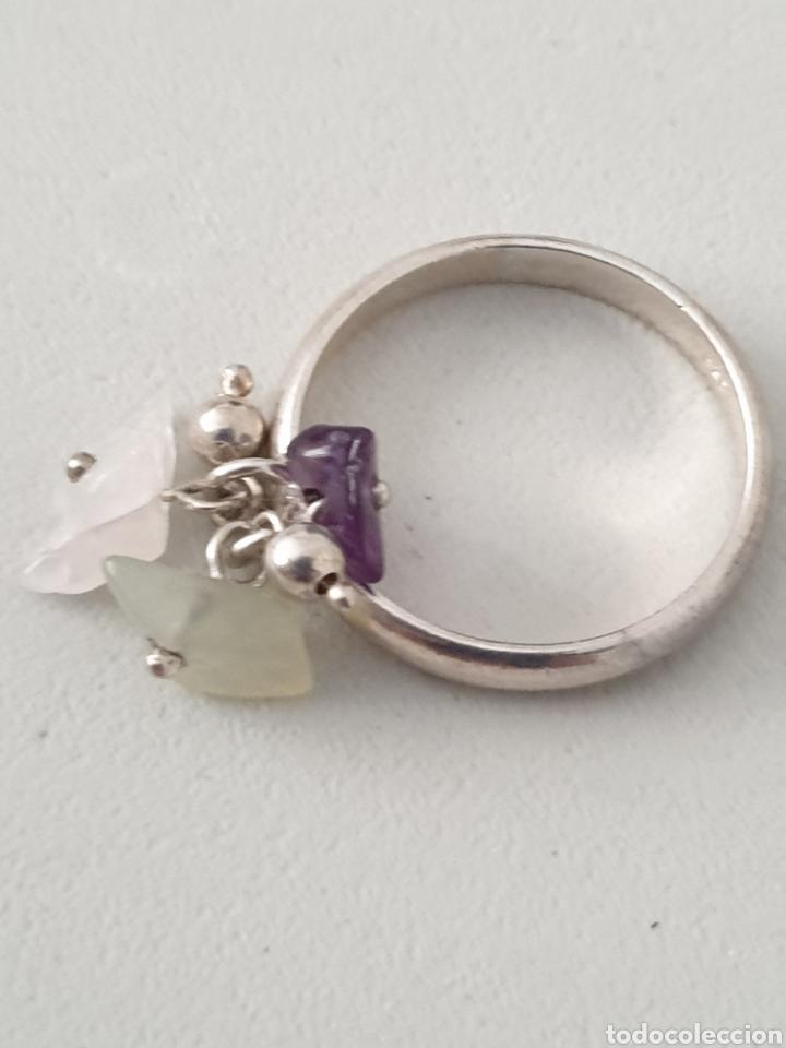 Joyeria: Excelente anillo de plata de ley 925 con piedras naturales amatista y cuarzo rosa - Foto 2 - 176675904