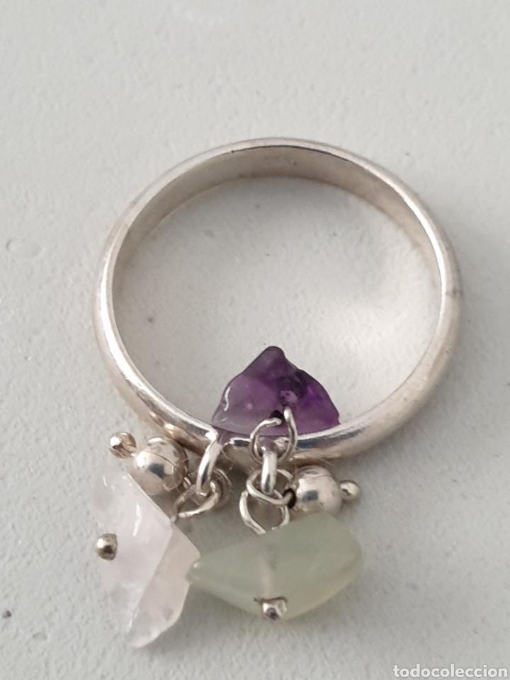 Joyeria: Excelente anillo de plata de ley 925 con piedras naturales amatista y cuarzo rosa - Foto 3 - 176675904