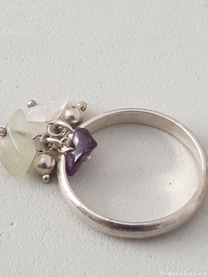 Joyeria: Excelente anillo de plata de ley 925 con piedras naturales amatista y cuarzo rosa - Foto 4 - 176675904