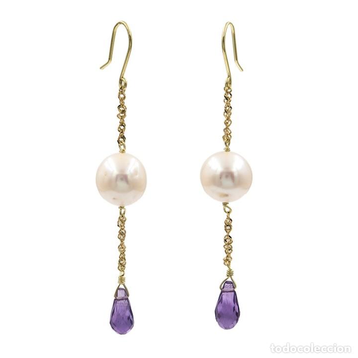 Joyeria: Pendientes de Perlas Cultivadas y Amatistas Naturales - Foto 2 - 176725439