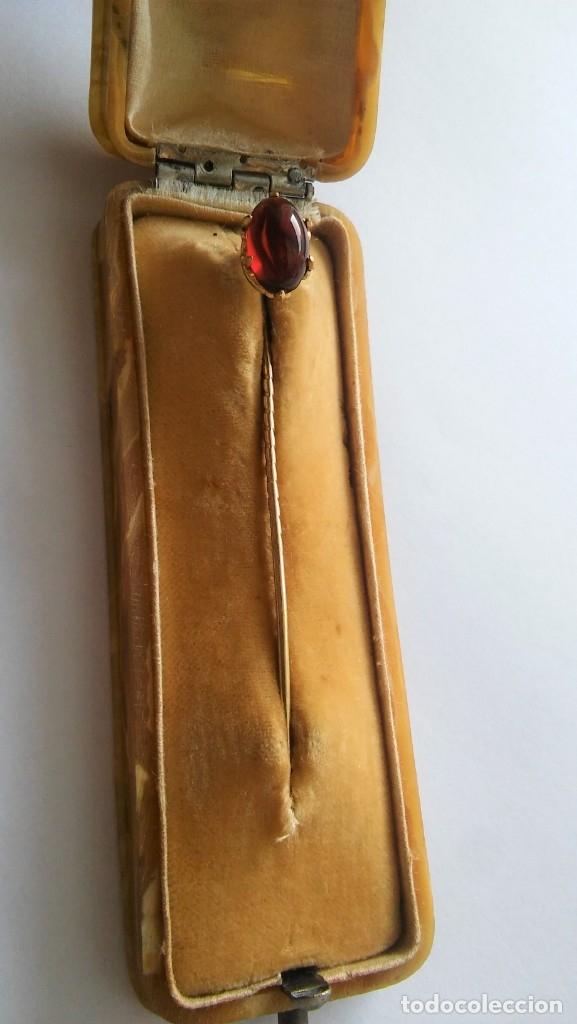 Joyeria: Antigua aguja alfiler corbata victoriano plaque oro con cabujón y estuche s XIX XX - Foto 3 - 176769720