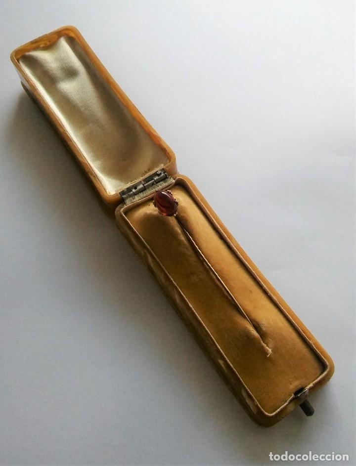 Joyeria: Antigua aguja alfiler corbata victoriano plaque oro con cabujón y estuche s XIX XX - Foto 4 - 176769720