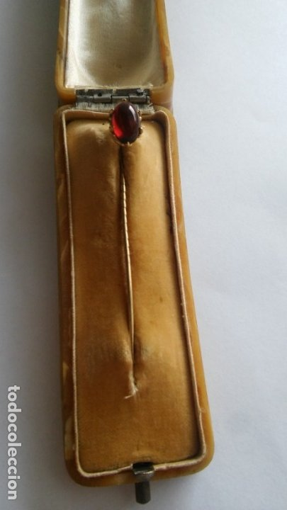 Joyeria: Antigua aguja alfiler corbata victoriano plaque oro con cabujón y estuche s XIX XX - Foto 5 - 176769720