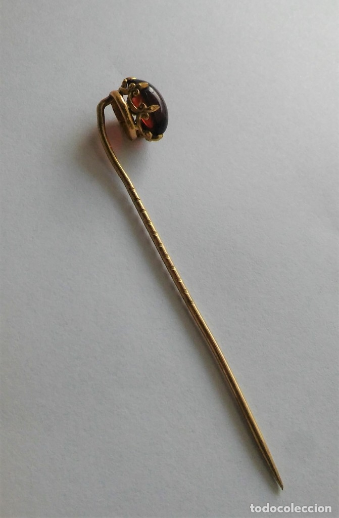 Joyeria: Antigua aguja alfiler corbata victoriano plaque oro con cabujón y estuche s XIX XX - Foto 6 - 176769720