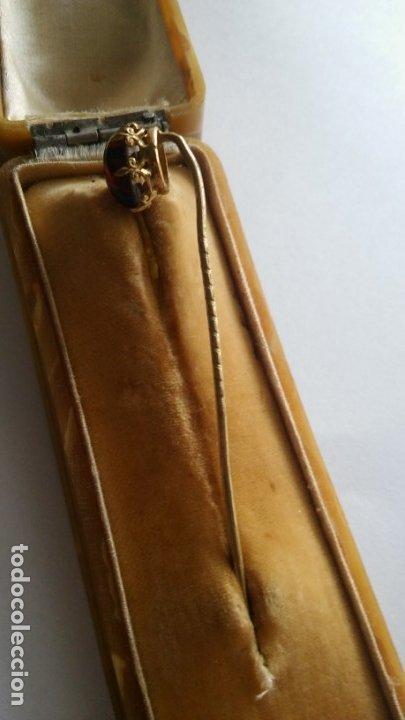 Joyeria: Antigua aguja alfiler corbata victoriano plaque oro con cabujón y estuche s XIX XX - Foto 11 - 176769720