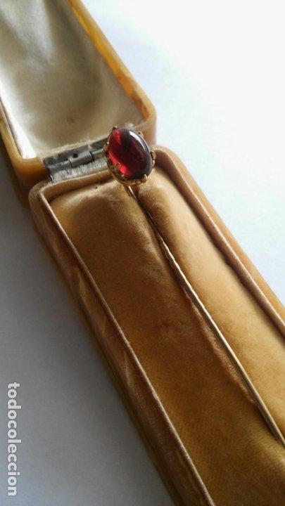 Joyeria: Antigua aguja alfiler corbata victoriano plaque oro con cabujón y estuche s XIX XX - Foto 12 - 176769720