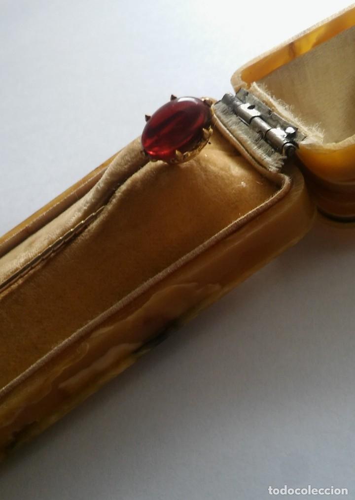 Joyeria: Antigua aguja alfiler corbata victoriano plaque oro con cabujón y estuche s XIX XX - Foto 15 - 176769720