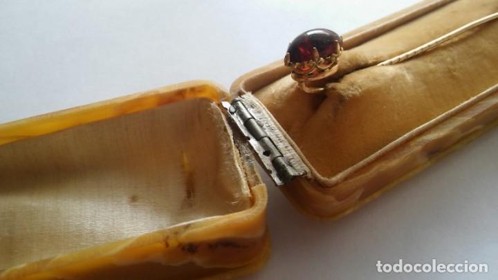 Joyeria: Antigua aguja alfiler corbata victoriano plaque oro con cabujón y estuche s XIX XX - Foto 27 - 176769720