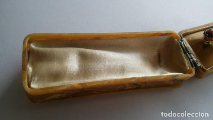 Joyeria: Antigua aguja alfiler corbata victoriano plaque oro con cabujón y estuche s XIX XX - Foto 28 - 176769720