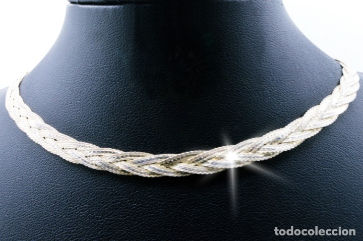 ELEGANTE COLLAR - GARGANTILLA VINTAGE TRENZADA DE PLATA BRILLANTE CINCELADA - ITALY 925 (Joyería - Collares Antiguos)