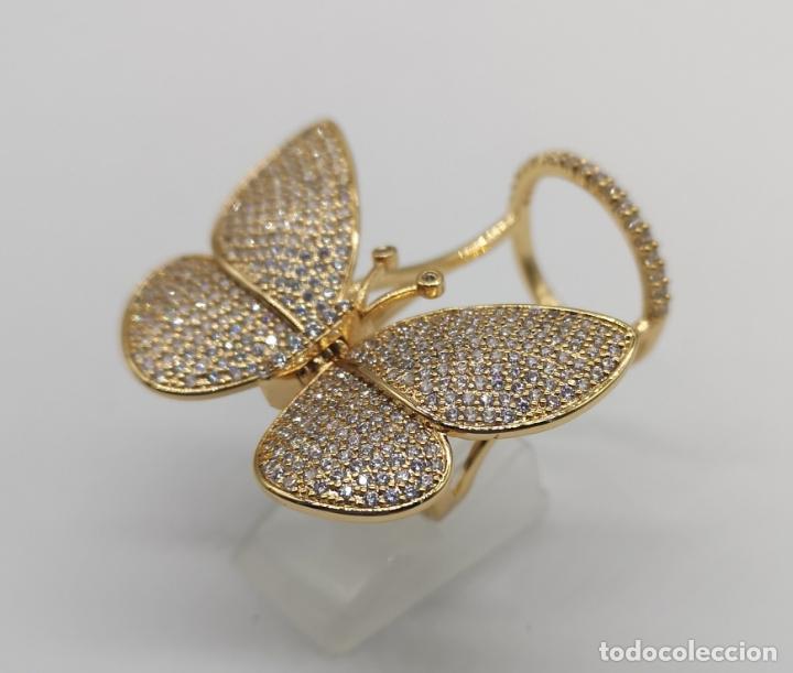 Joyeria: Espectacular anillo de lujo,mariposa automata chapada en oro de 18k, pavé de circonitas . - Foto 2 - 176971978