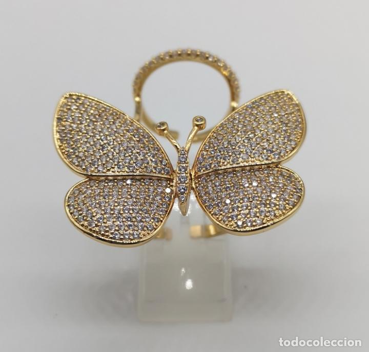 Joyeria: Espectacular anillo de lujo,mariposa automata chapada en oro de 18k, pavé de circonitas . - Foto 3 - 176971978