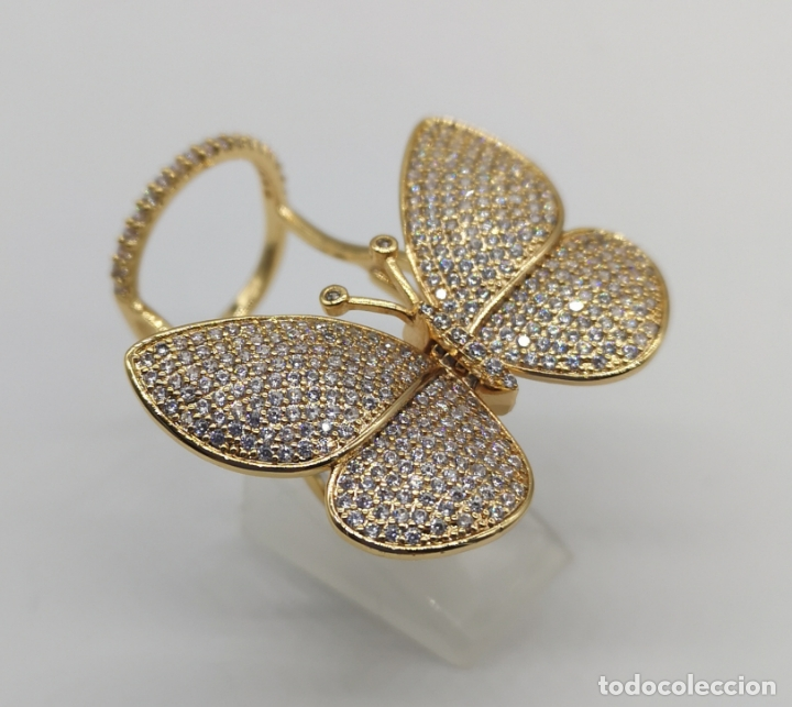 Joyeria: Espectacular anillo de lujo,mariposa automata chapada en oro de 18k, pavé de circonitas . - Foto 4 - 176971978