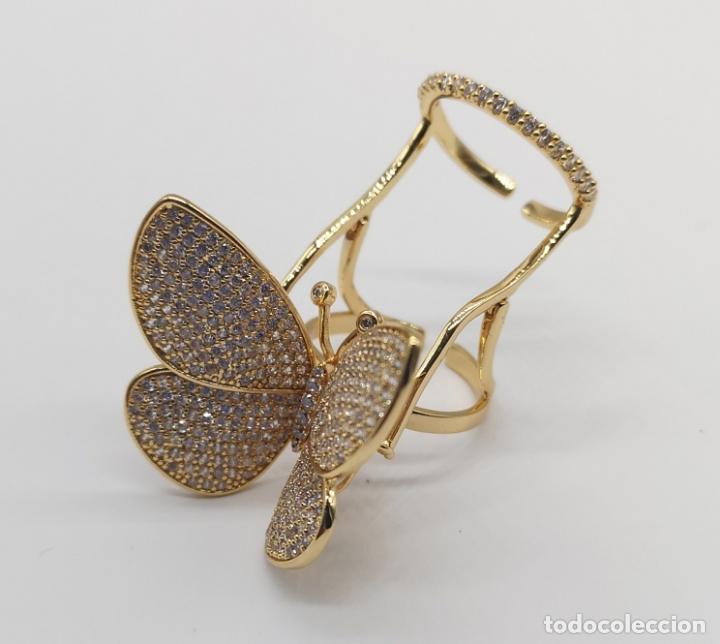 Joyeria: Espectacular anillo de lujo,mariposa automata chapada en oro de 18k, pavé de circonitas . - Foto 5 - 176971978