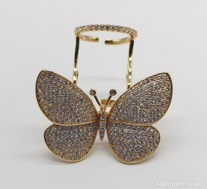 Joyeria: Espectacular anillo de lujo,mariposa automata chapada en oro de 18k, pavé de circonitas . - Foto 6 - 176971978
