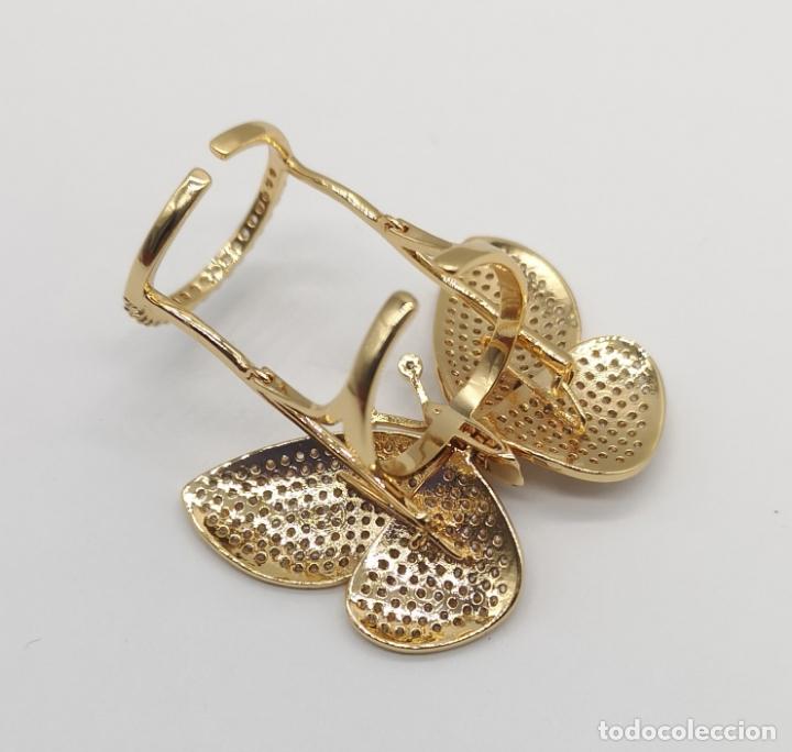 Joyeria: Espectacular anillo de lujo,mariposa automata chapada en oro de 18k, pavé de circonitas . - Foto 7 - 176971978