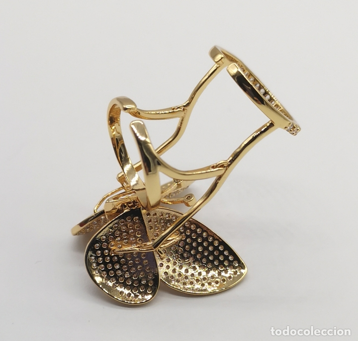 Joyeria: Espectacular anillo de lujo,mariposa automata chapada en oro de 18k, pavé de circonitas . - Foto 8 - 176971978