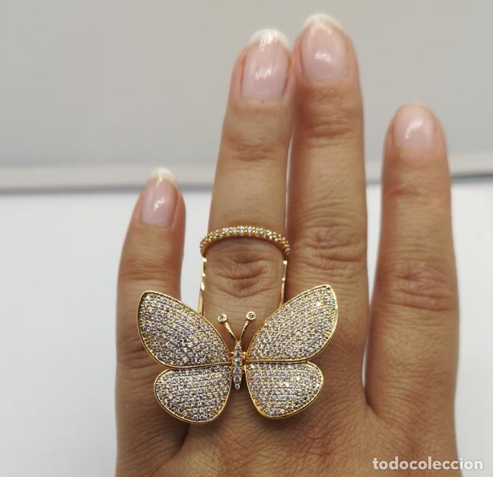 Joyeria: Espectacular anillo de lujo,mariposa automata chapada en oro de 18k, pavé de circonitas . - Foto 10 - 176971978