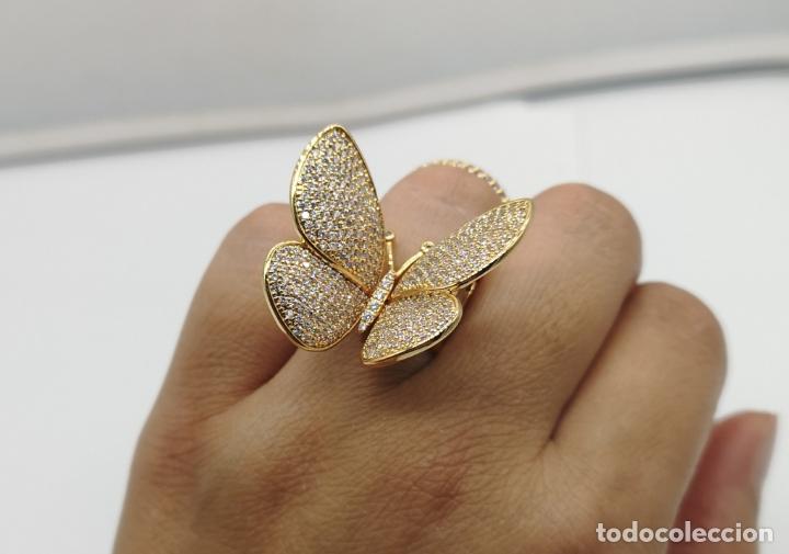 Joyeria: Espectacular anillo de lujo,mariposa automata chapada en oro de 18k, pavé de circonitas . - Foto 11 - 176971978