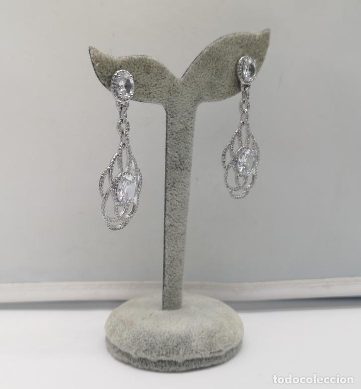 Joyeria: Magníficos pendientes de lujo para novias, en plata de ley laminada y pavé de circonitas . - Foto 2 - 176980944
