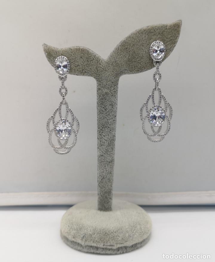 Joyeria: Magníficos pendientes de lujo para novias, en plata de ley laminada y pavé de circonitas . - Foto 5 - 176980944