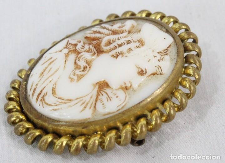 Joyeria: Antiguo broche camafeo tallado de opalina Pps del s XX - Foto 3 - 177174760