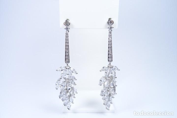 Joyeria: Pendientes largos en plata 925 alta joyería con pedrería engastada - Foto 3 - 194334408