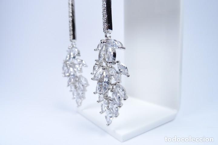 Joyeria: Pendientes largos en plata 925 alta joyería con pedrería engastada - Foto 2 - 194334408