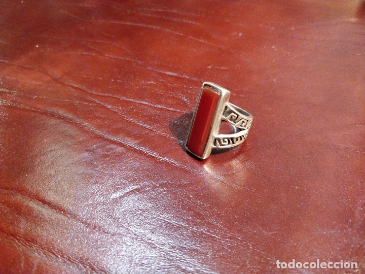 constante fascismo Instantáneamente  anillo de plata con piedra rojiza rectangular - - Comprar Anillos Antiguos  en todocoleccion - 177260287