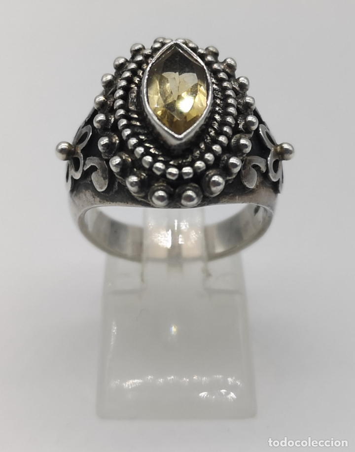 Joyeria: Impresionante anillo antiguo de estilo rococó en plata de ley con citrino talla marqués incrustado . - Foto 3 - 177456034