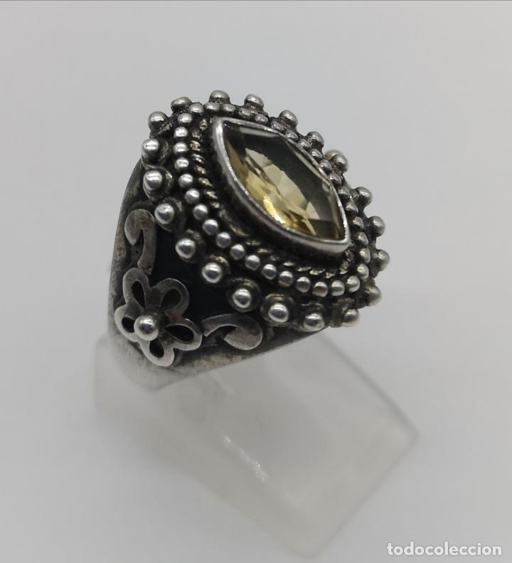 Joyeria: Impresionante anillo antiguo de estilo rococó en plata de ley con citrino talla marqués incrustado . - Foto 4 - 177456034