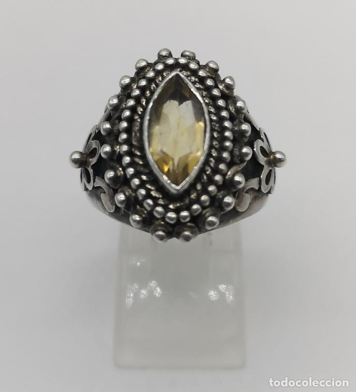 Joyeria: Impresionante anillo antiguo de estilo rococó en plata de ley con citrino talla marqués incrustado . - Foto 5 - 177456034