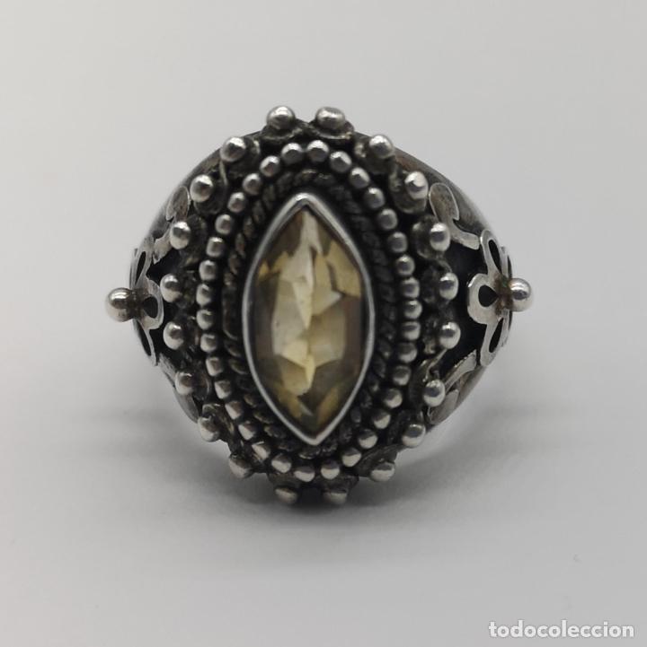 Joyeria: Impresionante anillo antiguo de estilo rococó en plata de ley con citrino talla marqués incrustado . - Foto 7 - 177456034