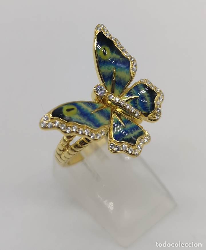 Joyeria: Magnífico anillo con mariposa realista en plata de ley, acabado en oro de 18k, circonitas y esmalte - Foto 2 - 261993115