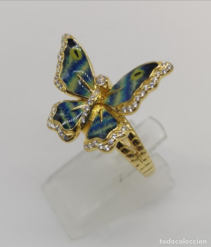 Joyeria: Magnífico anillo con mariposa realista en plata de ley, acabado en oro de 18k, circonitas y esmalte - Foto 4 - 261993115