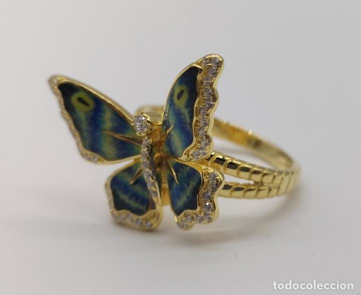 Joyeria: Magnífico anillo con mariposa realista en plata de ley, acabado en oro de 18k, circonitas y esmalte - Foto 6 - 261993115