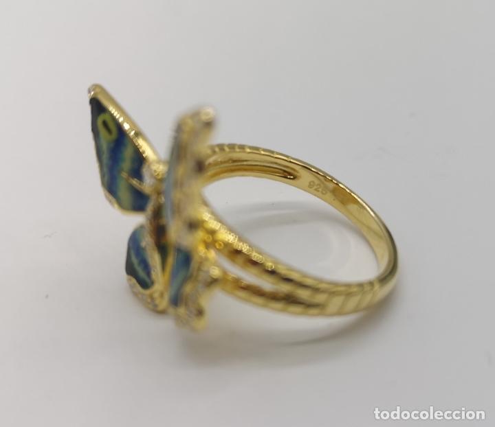 Joyeria: Magnífico anillo con mariposa realista en plata de ley, acabado en oro de 18k, circonitas y esmalte - Foto 7 - 261993115