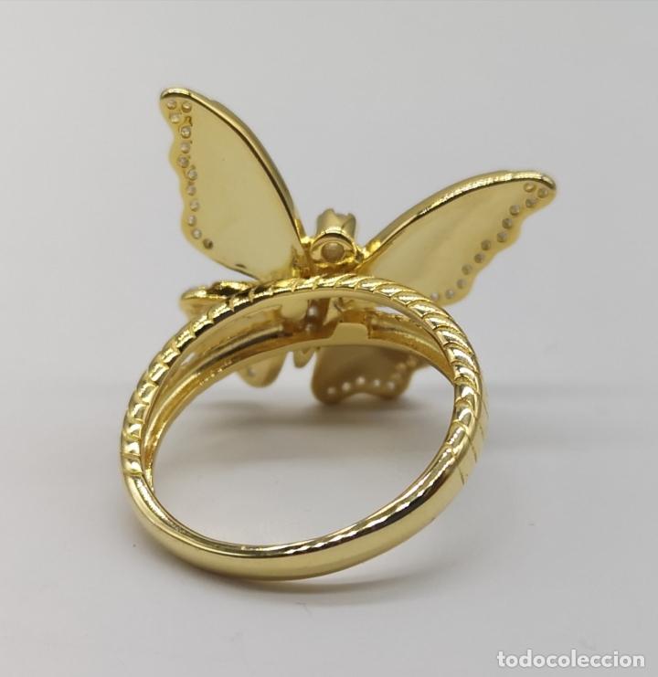 Joyeria: Magnífico anillo con mariposa realista en plata de ley, acabado en oro de 18k, circonitas y esmalte - Foto 8 - 261993115