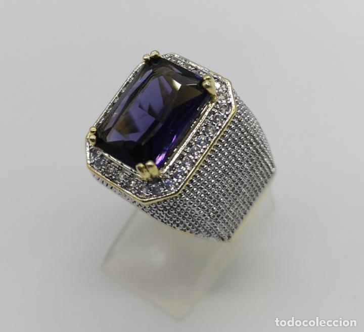 Joyeria: Gran anillo de estilo marqués tipo sello, chapado en oro de 14k, circonitas y gran amatista . - Foto 2 - 186332722