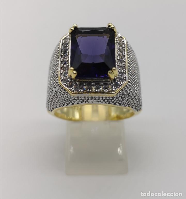 Joyeria: Gran anillo de estilo marqués tipo sello, chapado en oro de 14k, circonitas y gran amatista . - Foto 3 - 186332722