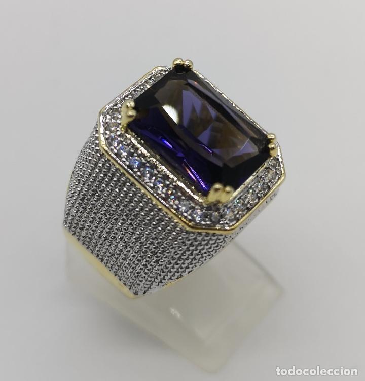 Joyeria: Gran anillo de estilo marqués tipo sello, chapado en oro de 14k, circonitas y gran amatista . - Foto 4 - 186332722