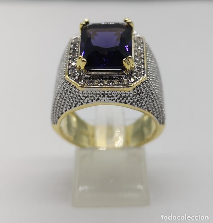 Joyeria: Gran anillo de estilo marqués tipo sello, chapado en oro de 14k, circonitas y gran amatista . - Foto 5 - 186332722