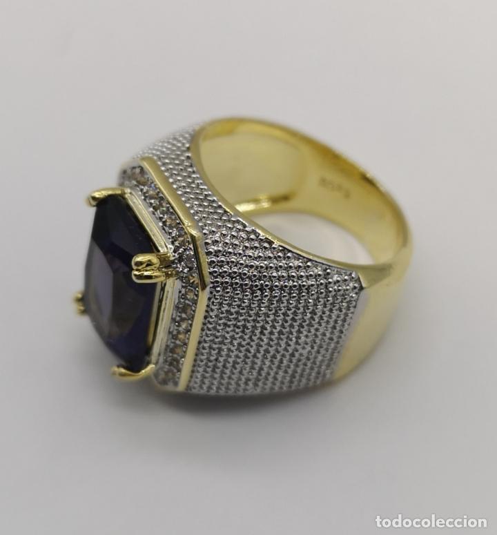 Joyeria: Gran anillo de estilo marqués tipo sello, chapado en oro de 14k, circonitas y gran amatista . - Foto 6 - 186332722