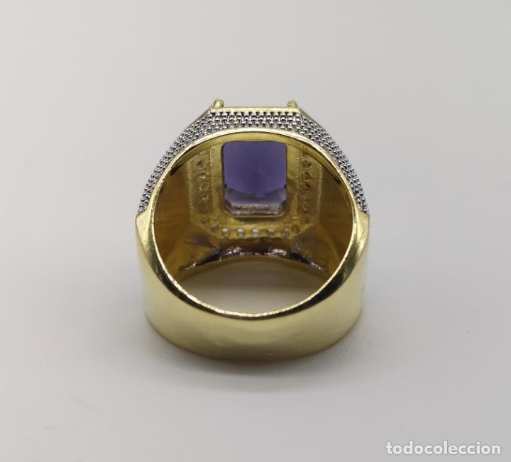 Joyeria: Gran anillo de estilo marqués tipo sello, chapado en oro de 14k, circonitas y gran amatista . - Foto 7 - 186332722